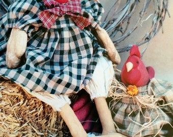 Country Chicken Doll Pattern, Primitive, e-pattern,