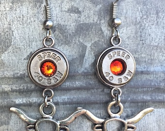 Bullet earrings. Bullet jewelry. Longhorns. UT. Burnt orange