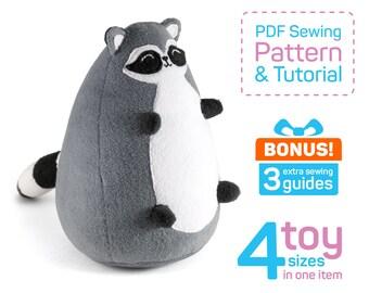 Fatty Raccoon sewing pattern PDF | Raccoon plush pattern | Raccoon gifts | Stuffed raccoon pattern | Soft racoon toy | Racoon gifts