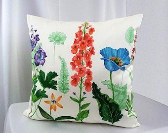 Garden floral pillow cover, Botanical pillow, Garden pillow cover, Romantic pillow, Decorative pillows, Floral pillowcases, Home decor, Sofa