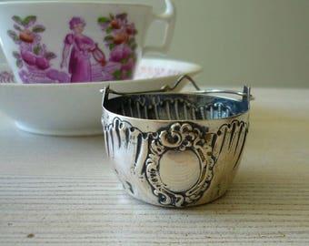 Antique sterling silver tea strainer, 19th century silver tea spout strainer