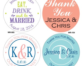 320 - 2 inch Custom Glossy Waterproof Wedding Stickers Labels - hundreds of designs to choose from - change designs to any color or wording
