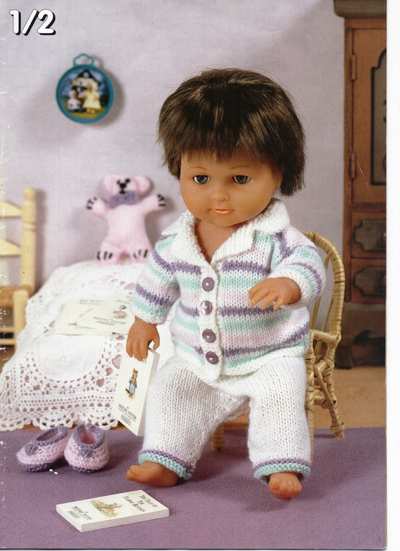 Baby Dolls Clothes Knitting Pattern Dolls Pyjamas Slippers Teddy