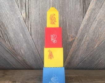 Vintage Disney Stacking Bell Tower Nesting Blocks {Stacking Boxes with Bell} Walt Disney Productions Kids Toy Blocks that Nest Mickey Mouse