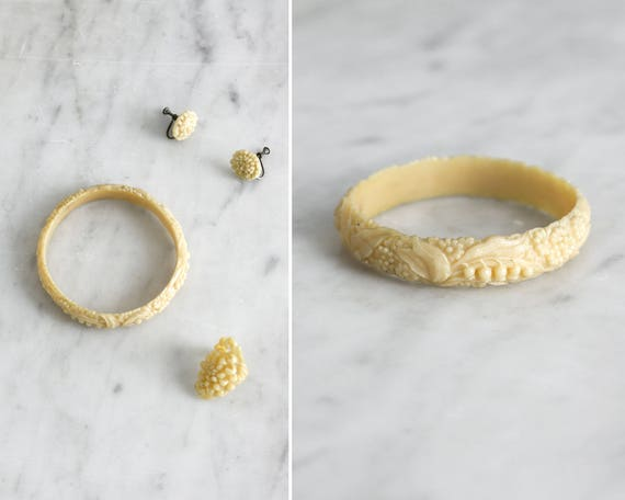 vintage 1930s celluloid jewelry set | 30s carved celluloid | ivory celluloid ring bracelet earrings