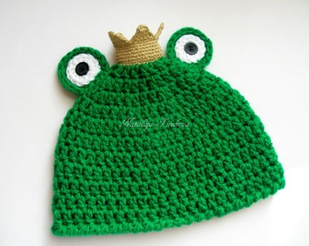 Crochet Frog Princess Hat/Frog Princess Hat/Newborn Frog Hat/Newborn Photo Prop/Baby Girls Hat/Baby Frog Hat/Crochet Frog Hat