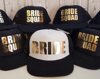 Braut Kader Brautjungfer Junggesellinnenabschied halbe Mesh Trucker Rapper Cap Baseballkappe, Braut Partei Caps