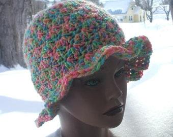 Homemade Rainbow Sherbert Yarn Wool Cap