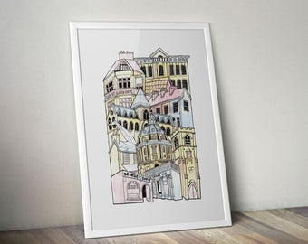 Oxford A1 Illustrated Stacking cityscape print