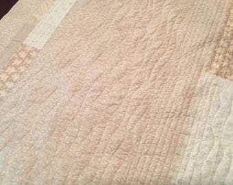 Creamy Beige Handmade One of a Kind Quilt