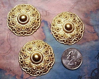2 PC  French Rococo Medallion Brass Stamping - D0081