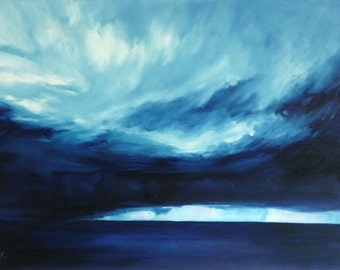 Rain At Sea  | greetings card | hand made | handmade | oil painting | painting | landscape | sea | sky | clouds | landscape painting card