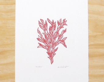 """Woodblock Print - """"Friend"""" Red Plant - Printmaking Art"""