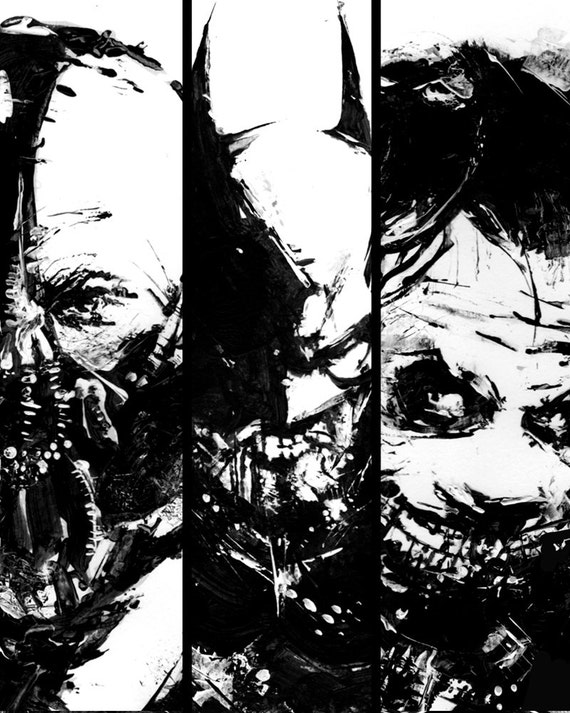 Set of three poster dark knight batman art batman joker