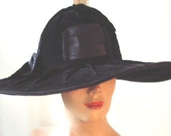 All Original Edwardian Era Dramatic Large Brim Black Velvet Hat   Item # 818  Hats