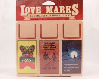 Vintage 1982 Sheet of 3 Punch out Love Book Marks