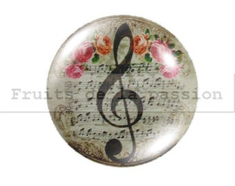 1 cabochon 25mm, notes, music, beige round glass