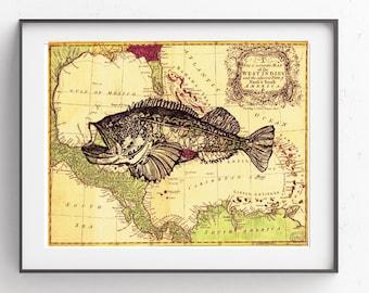 Grouper Fish~Vintage Map~~Coastal Art~Digital Art~Printable Art~INSTANT DOWNLOAD