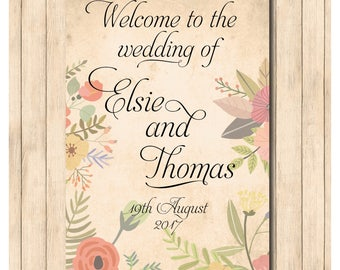 Printable wedding welcome sign, vintage floral, wedding , anniversary, special occasion