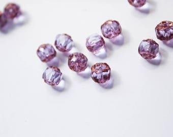 x 10 beautiful purple and gold Czech Bohemian glass beads