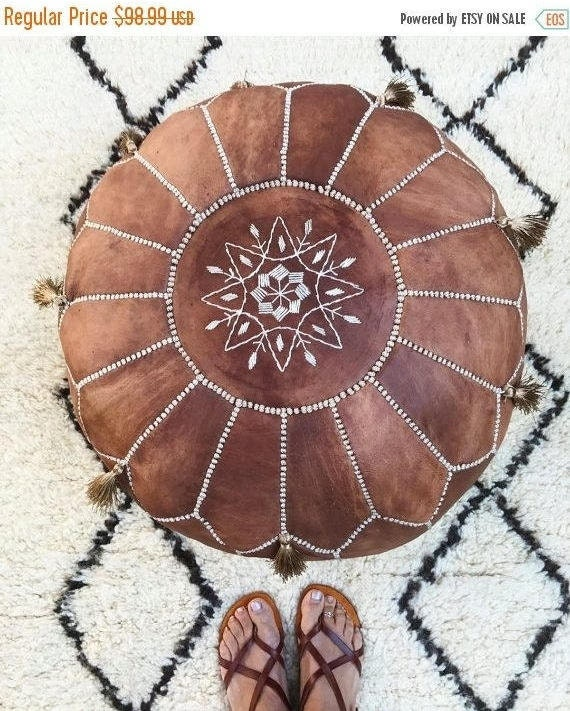 30% OFF Pouf Sale// Tan Brown Moroccan Leather Pouf with Tassels & Pompoms >Home gifts, wedding gifts, foot stool, ottoman, cushion, ramadan