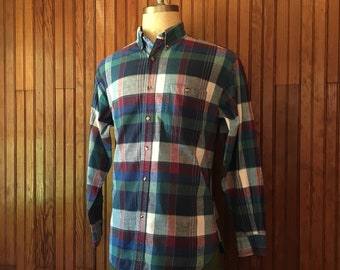 Vintage Madras Large Plaid Shirt Authentic Bombay Oxford Indian Cotton Long Sleeve Men's Ivy Trad Prep Made In India