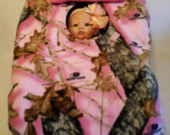 "Car Seat Cover Pink Camo Baby Girl! Mossy Oak Break Up n Bright Pink Cozy Hand Made Infant Fleece Custom Embroidery ""My Little Dear"""