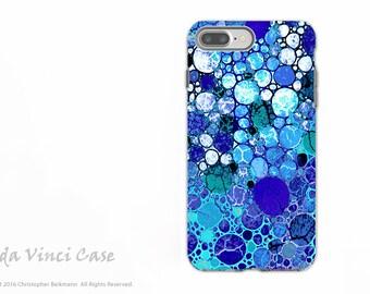 Blue Bubble Abstract - Artistic iPhone 7 PLUS - 8 PLUS Tough Case - Dual Layer Protection - Blue Bubbles
