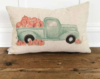 Pumpkin Truck Pillow Cover (Design by Amanda Michaud)