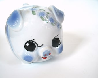 Large Vintage White and Periwinkle Blue Piggy Bank SALE