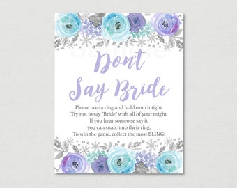 Winter Don't Say Bride Game / Winter Bridal Shower / Winter Snowflake / Winter Floral / Bridal Ring Game / INSTANT DOWNLOAD B121