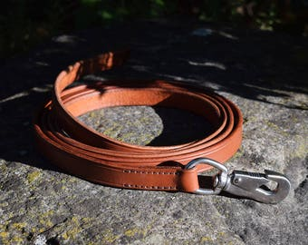 2 m Leather Dog Lead with Triggerless snap-hook - size L