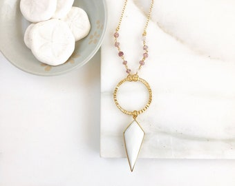 Long Necklace with White Agate Shield and Strawberry Quartz. White Stone Long Beaded Necklace. Long Boho Style Necklace.