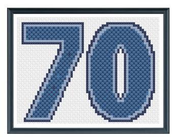 70th Birthday Card Cross Stitch Pattern - Blue