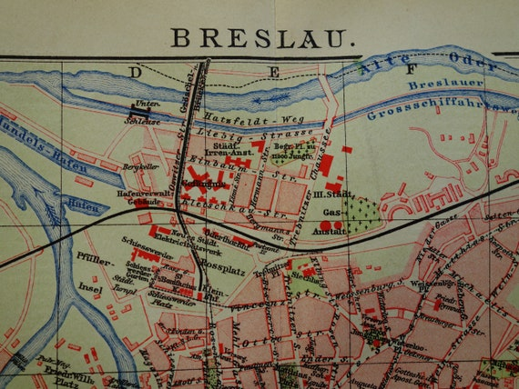 Wrocaw map 1905 original old map of Wroclaw detailed