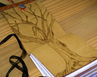 Leather watercolor Journal with Pyrographed tree of life artist made, hand bound