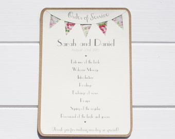 Order of Service Wedding - Country Bunting Ivory on Kraft Card