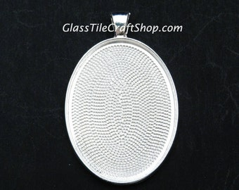 Oval Pendant Setting (40 Pack) - 30x40mm Sterling Silver Plated Bezel Setting. (OVALTSSP)