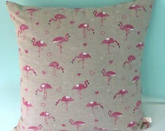 Flamingo, Flamingo Cushion, Pink Flamingo Cushion, Square Cushion, Fabric Cushion, Homeware, Home Decor, Gift