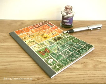 Postage Stamp Travel Journal, Sunset Landscape of Upcycled Stamps | A5 Travelers Notebook Insert | travel notebook, eco friendly travel gift
