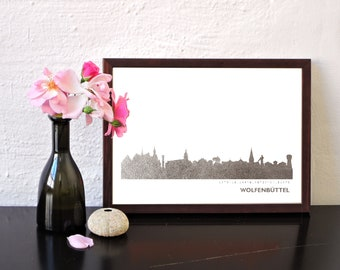 WOLFENBUETTEL Art Print, Glasgow Artwork, Glasgow Decor, WOLFENBUETTEL Poster, Glasgow Wall Art, Glasgow Skyline, Glasgow Gift