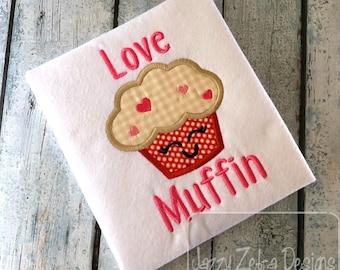 Love Muffin Valentines day appliqué embroidery design - muffin appliqué design - Valentines day appliqué design - heart appliqué design