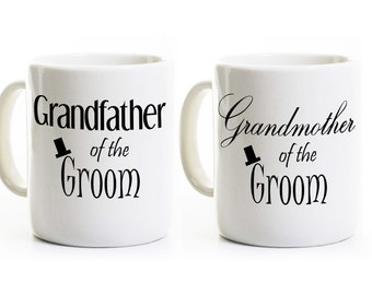 Grandparents of the Groom Gift - Grandmother Grandfather Coffee Mugs Cups - Wedding Groom Bride Gift - Tea Cups