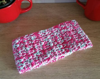 Pink and mint green ear warmer