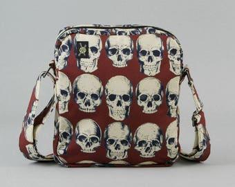 Skulls Small Crossbody Bag, Zipper Closure, Punk Rock, Goth, Fabric Crossbody Purse Handbag, Realistic Anatomical Skulls, Dark Red