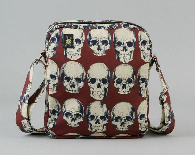 Anatomical Skulls Small Crossbody Bag with Zipper Closure, Dark Rust Red, Cream Color Skulls