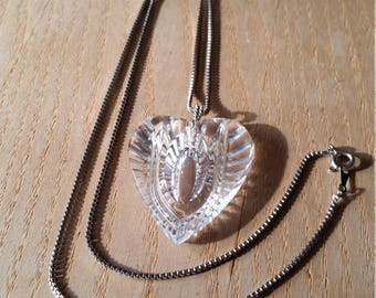 Cut Crystal Heart Necklace, Vintage Long Silver Tone Chain