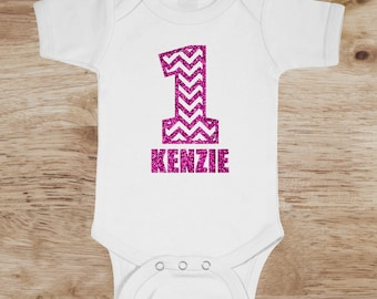 Chevron glitter baby age personalized onesie age one two three four five