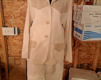 Vintage off white deerskin women's suit.