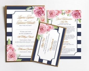 Nautical Rose Wedding Invitation - SAMPLE